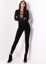 Long Sleeve Deep V Lace Up Bodysuit Black